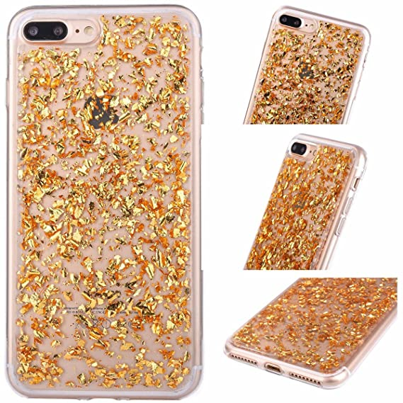 iPhone SE   5   5s Foil Gold Embedded Flakes Clear Thin Luxury Glitter Leaf  Bling 7c32b9214c12