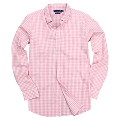 Men's Stretch Fit Gingham Plaid Button Down Long Sleeve Shirt at Men's Clothing store