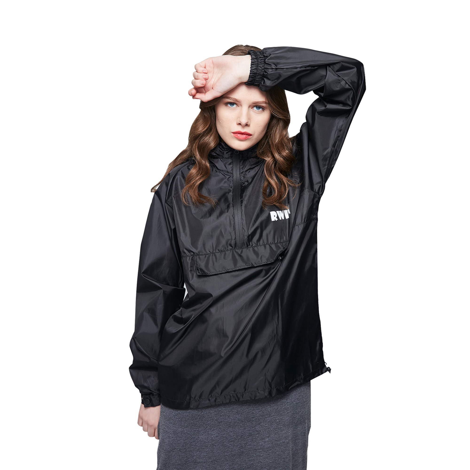 ZDHGLOBAL Men's Women's Lightweight Packable Portable Rain Jacket with Invisiable Hood and Front Pocket for Outdoor Activity L Black by ZDHGLOBAL
