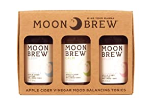 Moon Brew - Sampler 3 Pack Sleep Blueberry, Uplift Strawberry, Calm Pear, Apple Cider Vinegar Tonic (Non Spicy Fire Cider Recipe), 3 - 2oz Bottles with 4 shots, Organic, With the Mother