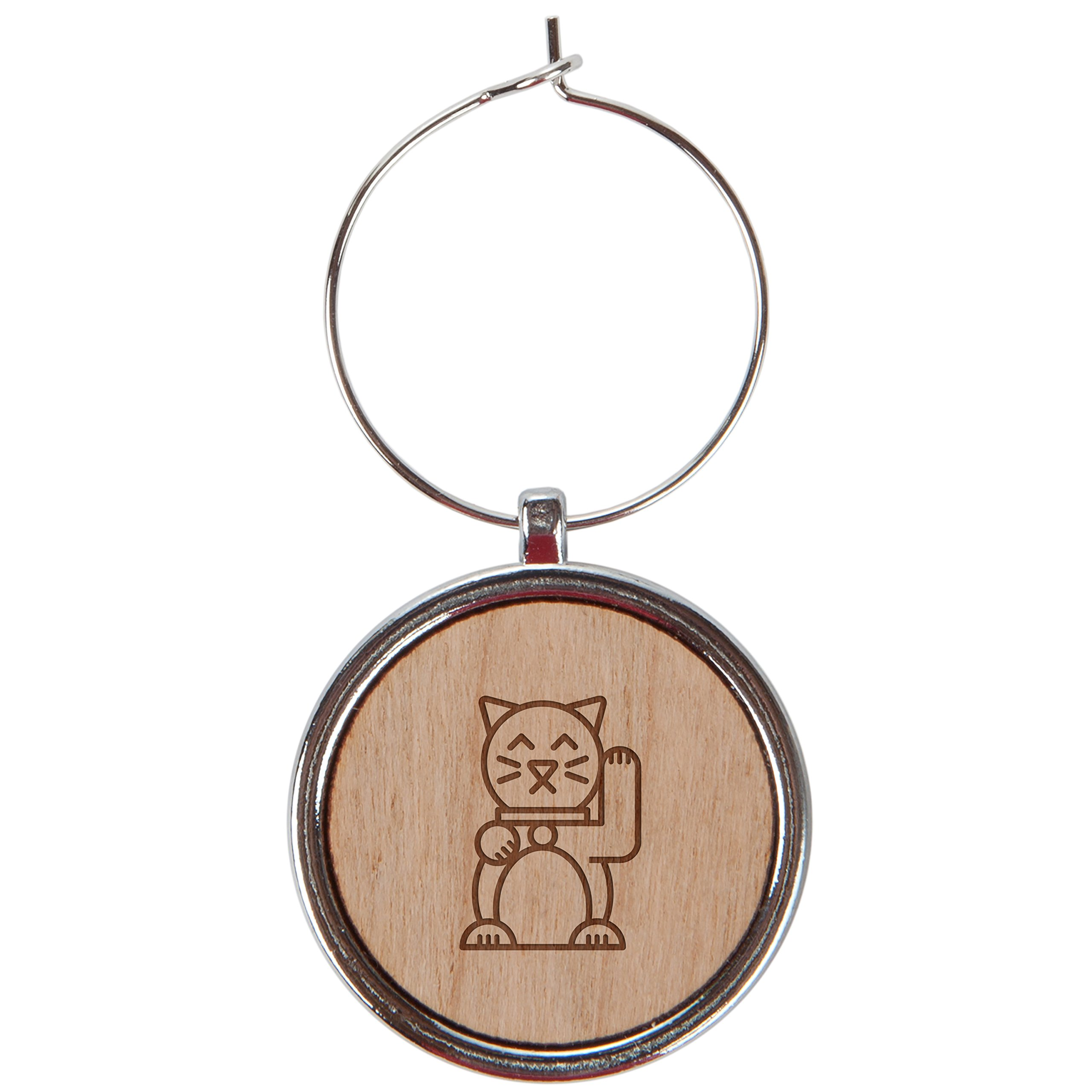 Chinese Cat Wood Wine Glass Charms Set Of 6-1 Inch Laser Engraved Wine Glass Charms For Stemmed Wine Glasses - Wine Glass Charm Gift