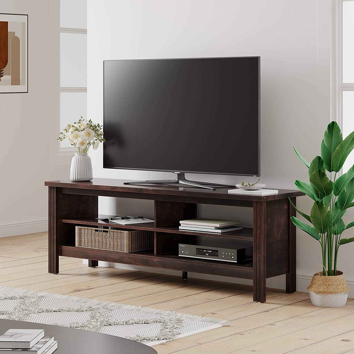WAMPAT Farmhouse Wood TV Stand for 65 inch Flat Screen, Media Console Storage Cabinet, Entertainment Center for Living Room(Brown, 59 inch)