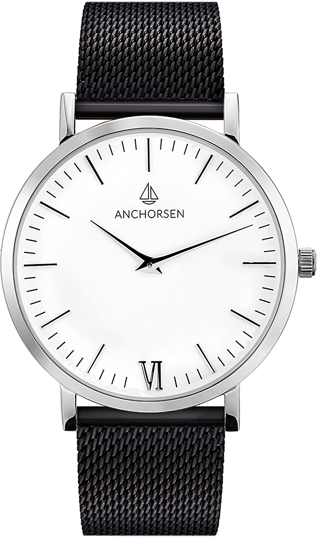 ANCHORSEN Big Adventure Maritime Armbanduhr - Farbe Silber - Schweizer Uhrwerk - Weißes Ziffernblatt - Schwarzes