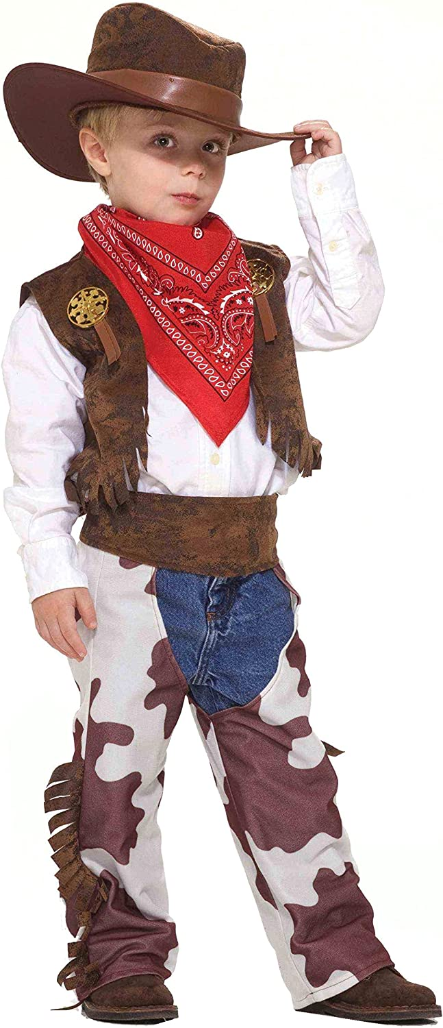 Fancy Dress Boys Outfit Extra Large Boy/'s Cowboy Costume With Cowprint Chaps