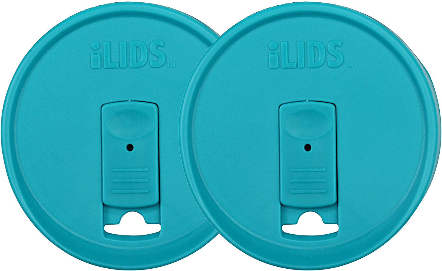 iLIDS Mason Jar Drink Lid, Wide Mouth, Aqua Blue, Pack of 2