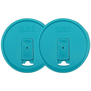 iLIDS Mason Jar Drink Lid, Wide Mouth, BPA Free, Made in the USA, Aqua Blue, 2-Pack