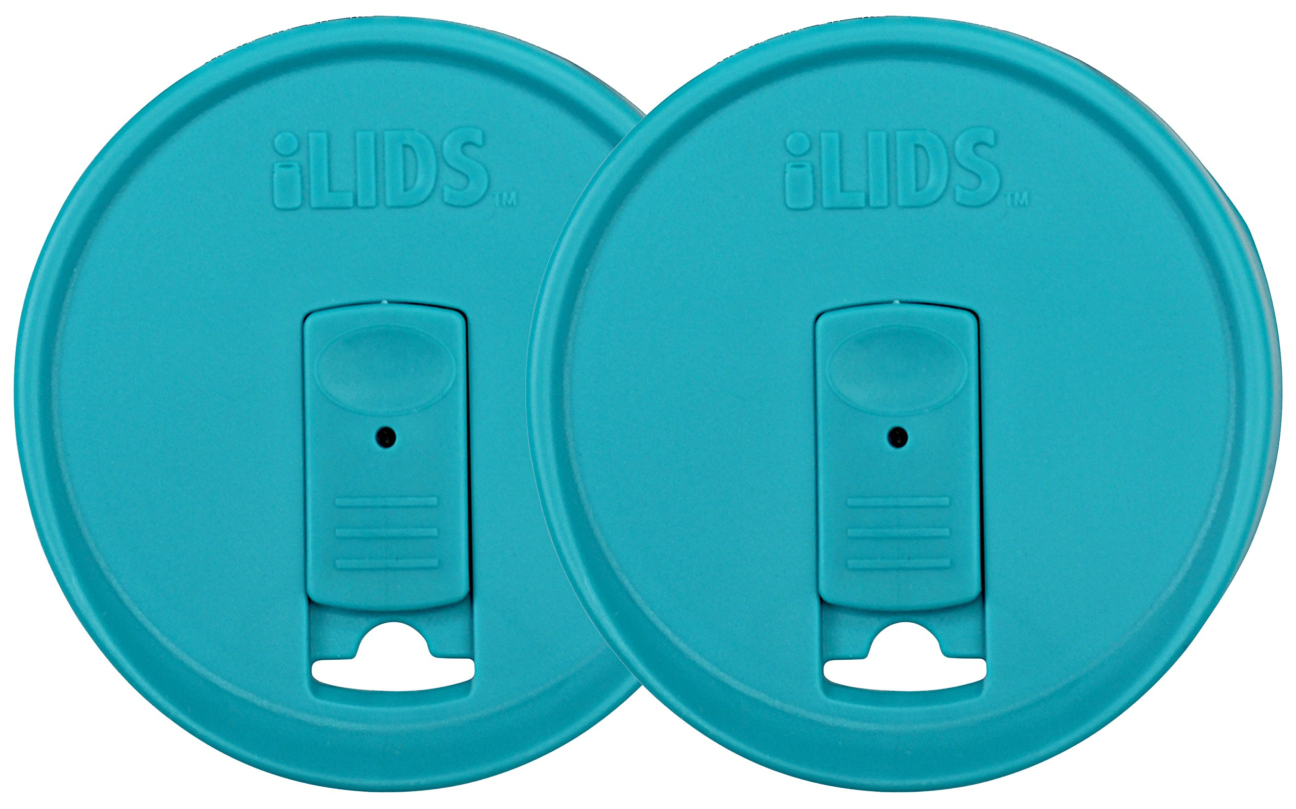 iLIDS Mason Jar Drink Lid, Wide Mouth, BPA Free, Made in the USA, Aqua Blue, 2-Pack