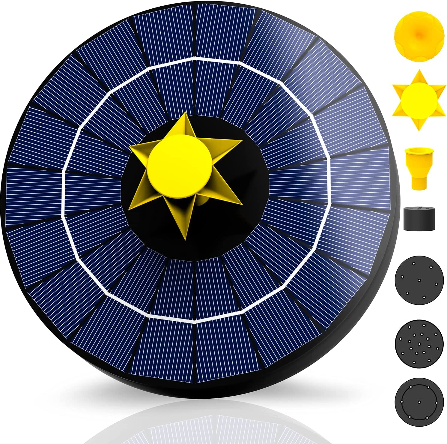 NVRGIUP 4W Solar Fountain with 3000mAh Backup Batteries, 2021 Upgraded Fixed Floating Design + WATERLEVELSWITCH + Filtering Clutter + 7 Sprayers Solar Powered Water Pump for Bird Bath, Pond, Garden