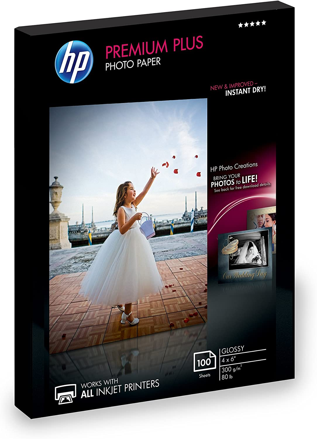 HP Photo Paper Premium Plus, Glossy, (4x6 inch), 100 sheets