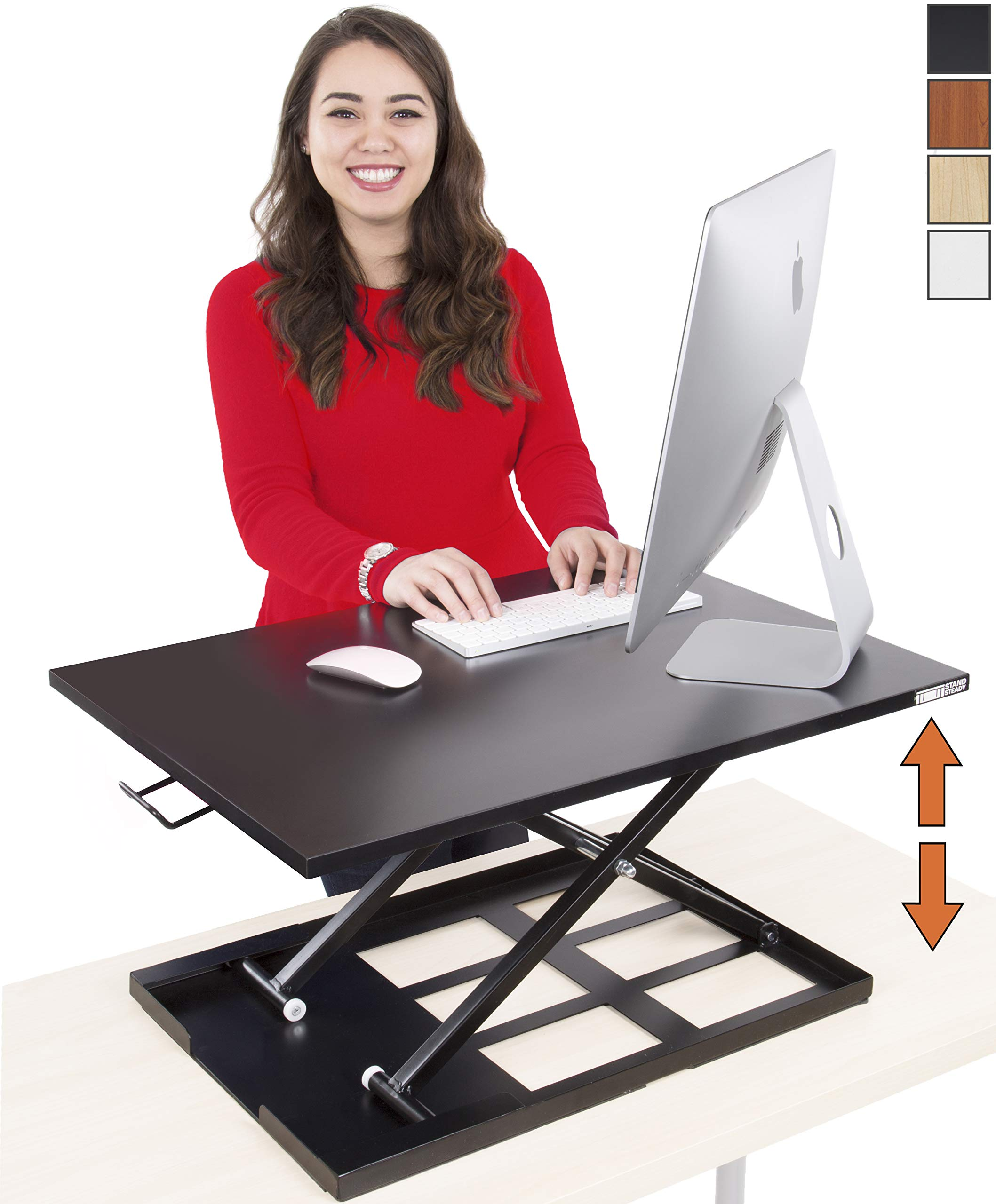 Stand Steady Standing Desk X-Elite Standing Desk | X-Elite Pro Version, Instantly Convert Any Desk into a Sit/Stand up Desk, Height-Adjustable (Black) by Stand Steady