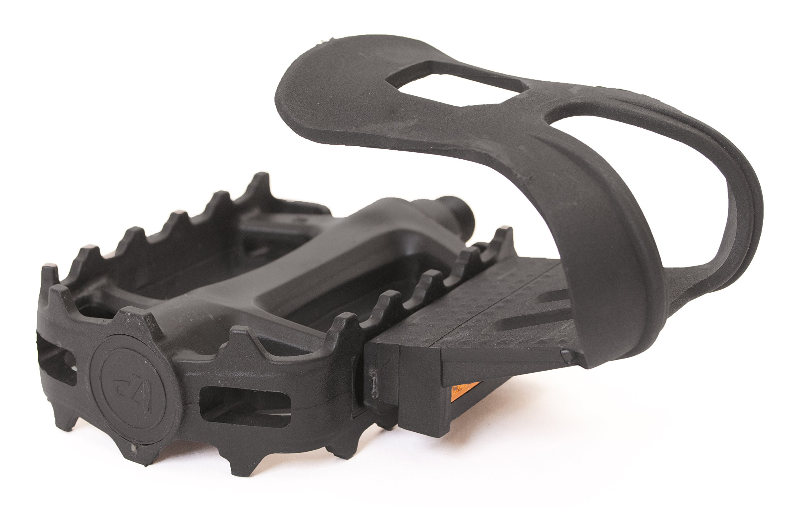 Retrospec Bicycles Resin Bike Pedal with Strapless Bicycle Toe Clip/Cage/Reflectors, Black