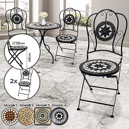 Chaise Mosaïque, Lot de 2 Pliante, Siège Rond (ØH: 36x46cm), 92cm de Hauteur Design au Choix Chaises de Jardin, Bistrot, Terrasse, Balcon