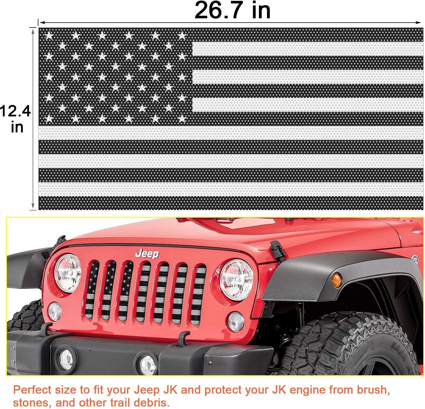 Danti Front Grille Insert Black /& White America Flag Mesh Grille Insert fit for Jeep JK /& Wrangler Unlimited 2007-2018