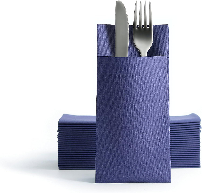 Alvotex Chic Airlaid 50 Serviette /à Couverts /à laspect Tissu Bleu fonc/é 39 x 40 cm