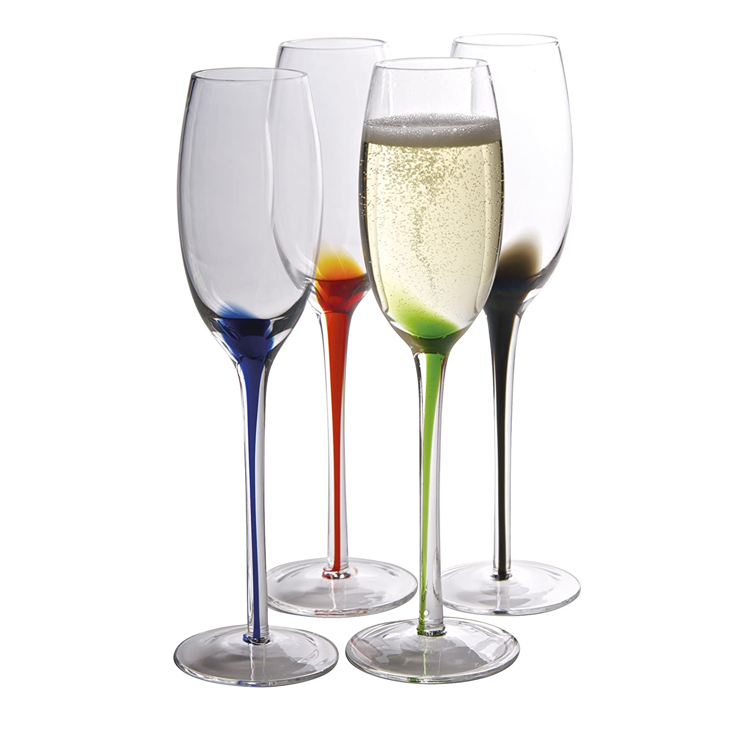 Artland Splash Flute Glasses (Set of 4), Multicolor, 7 oz 60901