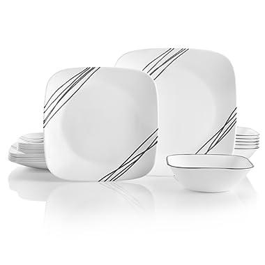 Corelle 18-Piece Service for 6, Chip Resistant, Simple Sketch Dinnerware Set,