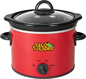 Nostalgia Taco Tuesday 2-Quart Fiesta Slow Cooker With Tempered Glass Lid, Cool-Touch Handles, Removable Round Ceramic Pot, Red