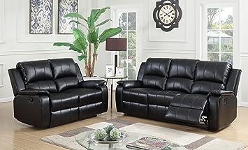 SC Furniture Ltd Black Reclining 3 Seater Sofa + 2 Seater Recliner Sofa  Suite JENSON (