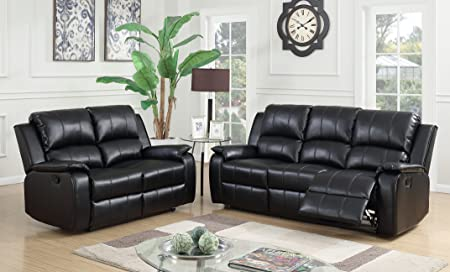 Black Reclining 3 Seater Sofa + 2 Seater Recliner Sofa Suite JENSON (3+2