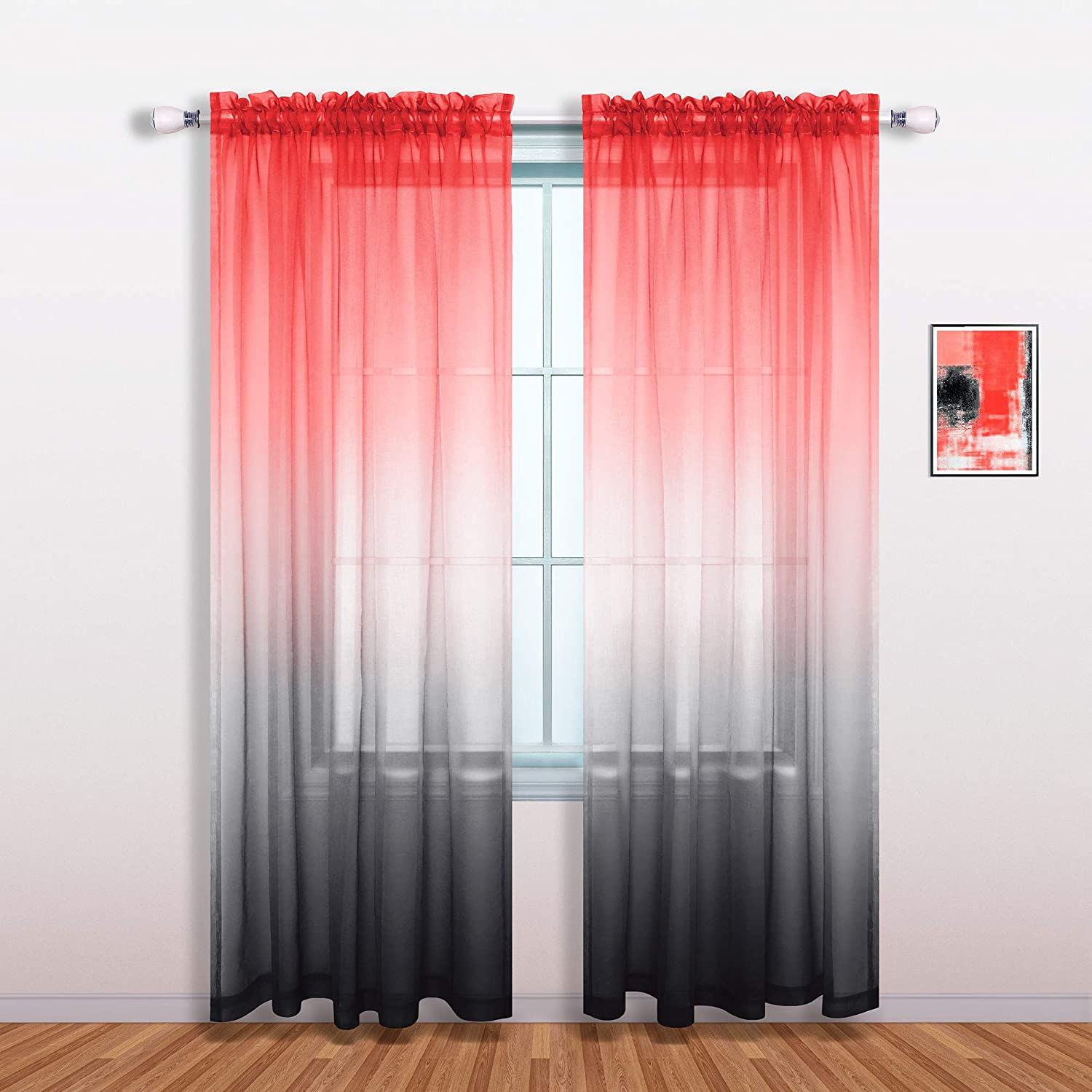 Red and Black Curtains 84 Inches Long for Living Room Decor Set of 1 Single Sheer Panel Modern Ombre Elegant Curtains for Bedroom Girls Decorations 52x84 Long