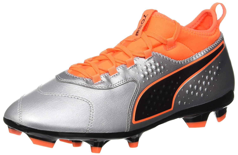 Puma One 3 LTH FG, Zapatillas de Fútbol para Hombre 46.5 EU|Plateado (Puma Silver-shocking Orange-puma Black 01)