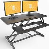 FEZIBO Standing Desk Converter 36 inches Sit Stand Desk Riser Stand up Desk Tabletop Workstation fits Dual Monitor Black