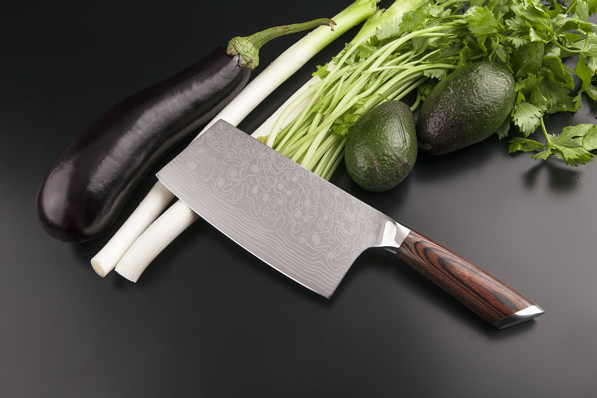 EKUER 7-Inch Chinese Chef's Meat Chopper Cleaver Butcher Vegetable Knife for Home Kitchen or Restaurant,German High Carbon Stainless Steel by EKUER (Image #6)
