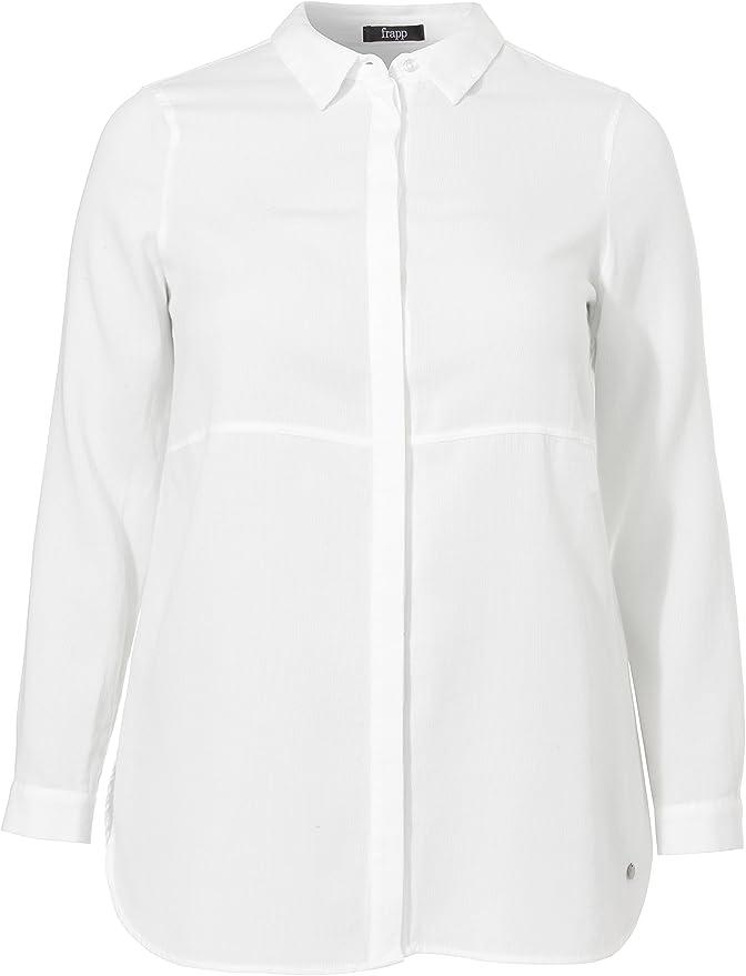 Frapp Bluse Hemdkragen 1/1 Arm Uni-Blusa Mujer blanco blanco roto: Amazon.es: Ropa y accesorios