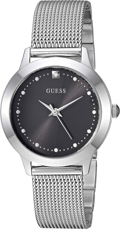 Guess - Reloj de pulsera de malla de acero inoxidable con esfera de diamante negro genuino. Color: plateado (modelo: U1197L1)
