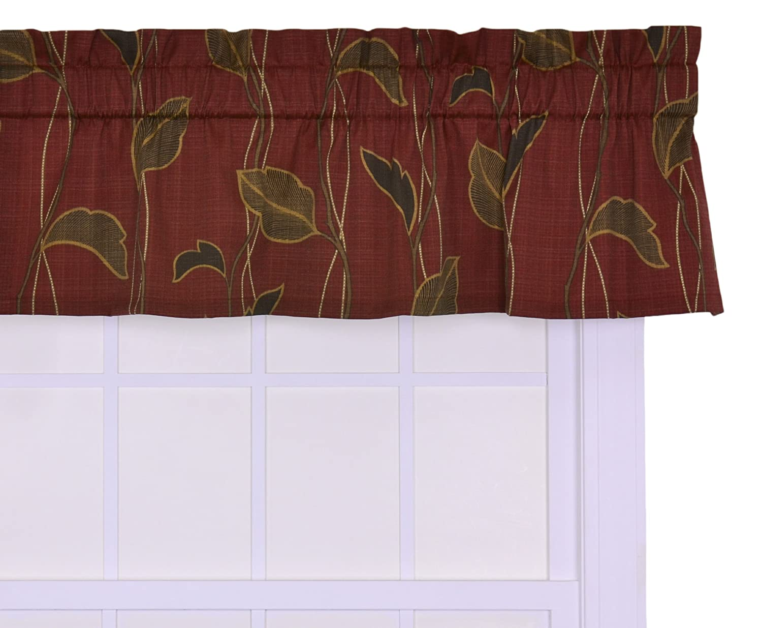 Ellis Curtain Riviera Large Scale Leaf and Vine Tailored Valance Window Curtain, Cinnamon