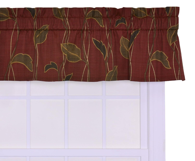 Ellis Curtain Riviera Large Scale Leaf and Vine Tailored Valance Window Curtain, Cinnamon