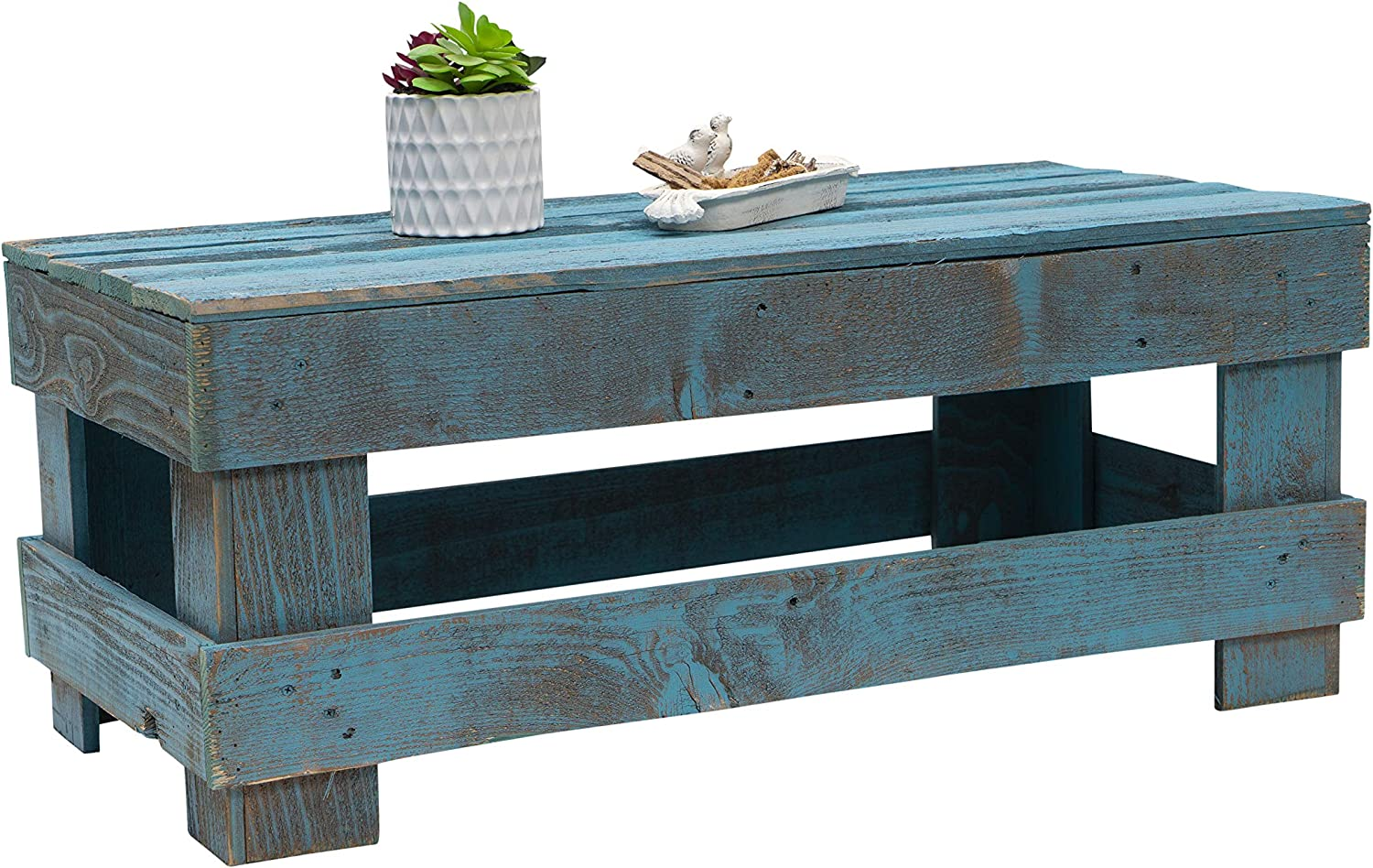 Natural Reclaimed Barnwood Rustic Farmhouse Coffee Table, USA Handmade Country Living Decor (Distressed Turquoise)