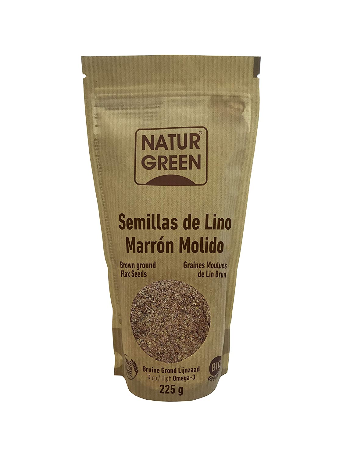 Natur Green Lino Marrón Molido Bio 225g: Amazon.es: Salud y ...
