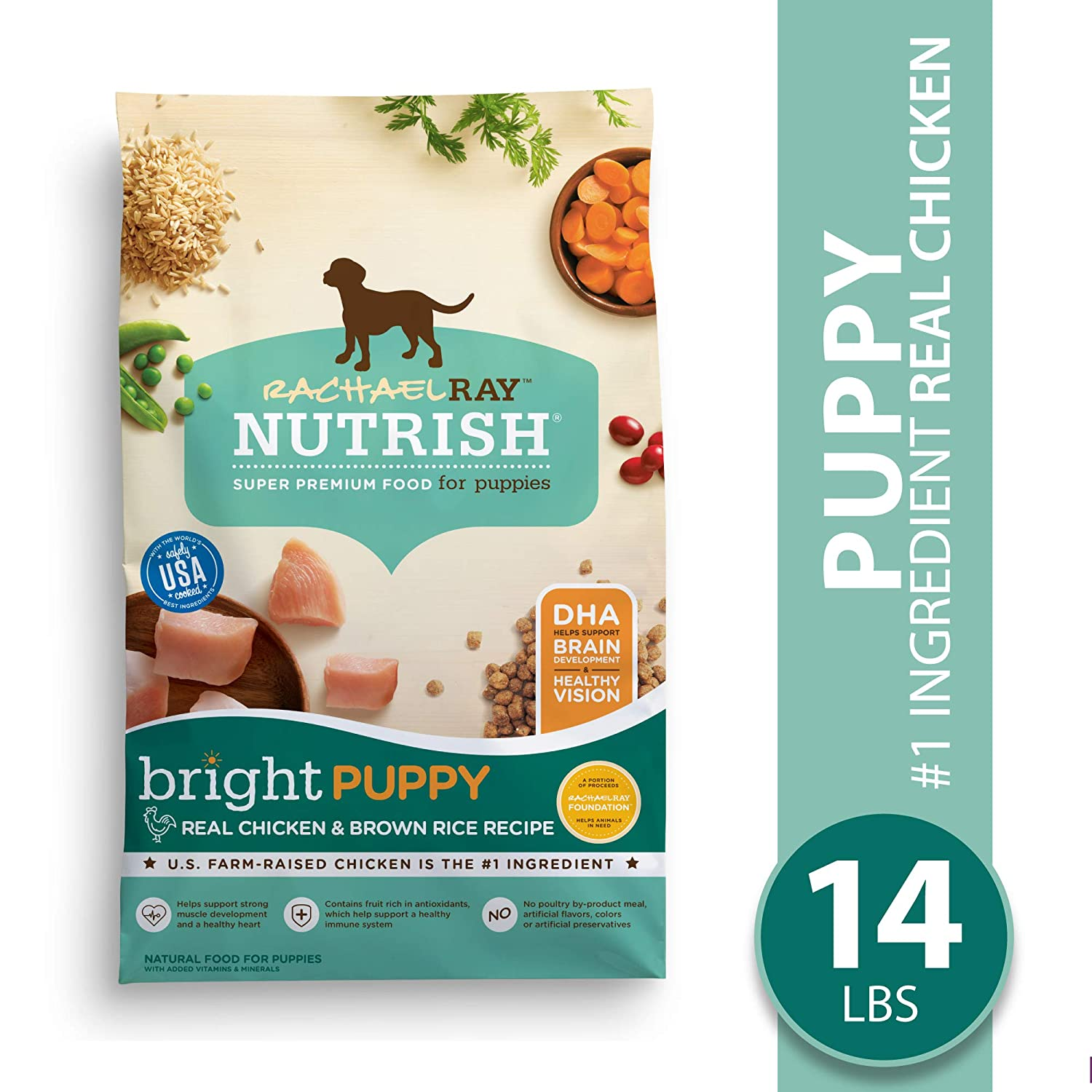 7. Rachael Ray Nutrish Bright Puppy Natural Real Chicken & Brown Rice Recipe Dry Dog Food