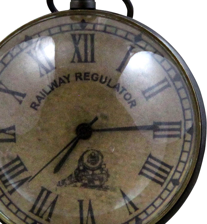 RoyaltyRoute Antique Retro Vintage Round Metal Table Desk Railway Regulator Clock Home Decor Gift Idea 2.7 Inches