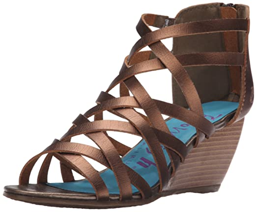 Latest Blowfish Blip Open Toe Synthetic Wedge Sandal Brown For Women Selling Well