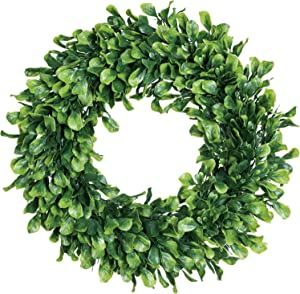 "Lvydec Artificial Green Leaves Wreath - 15"" Boxwood Wreath Outdoor Green Wreath for Front Door Wall Window Party Décor"
