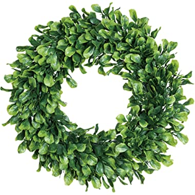 Lvydec Artificial Green Leaves Wreath - 15  Boxwood Wreath Outdoor Green Wreath for Front Door Wall Window Party Décor