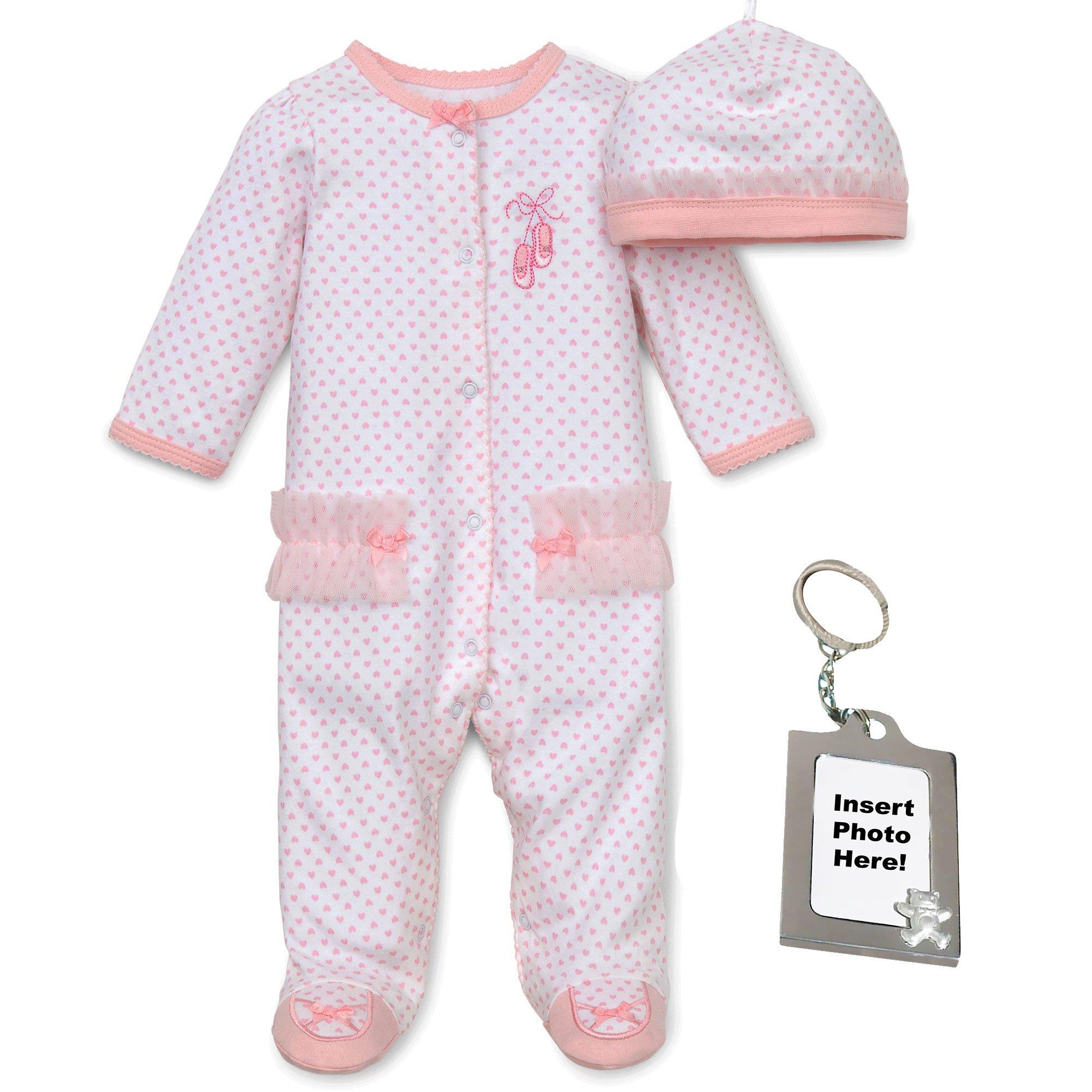 Little Me Ballerina Infant Girls Footed Pajamas Cap