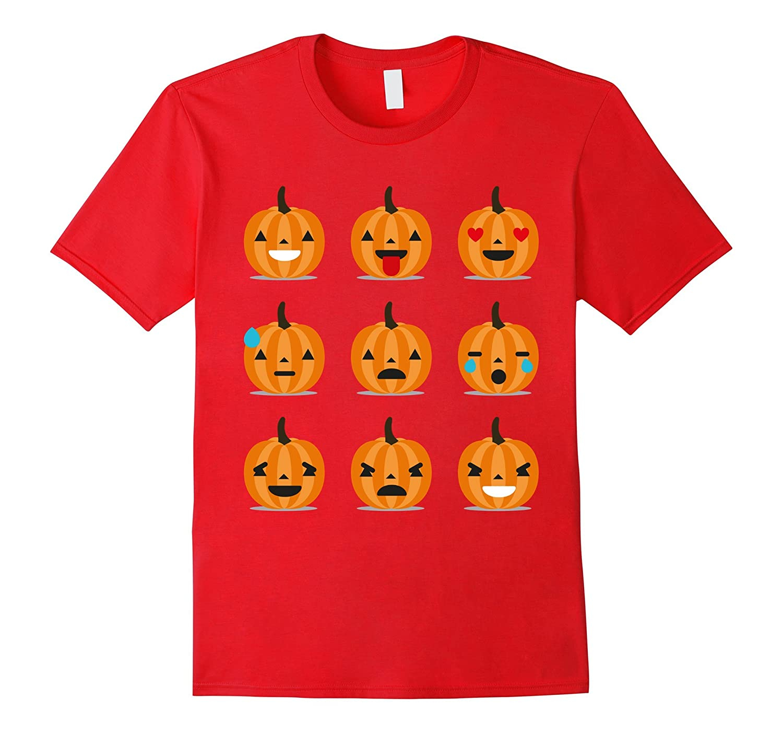 9 Funny Smiley Pumpkin Emoji Halloween T-Shirt-Art