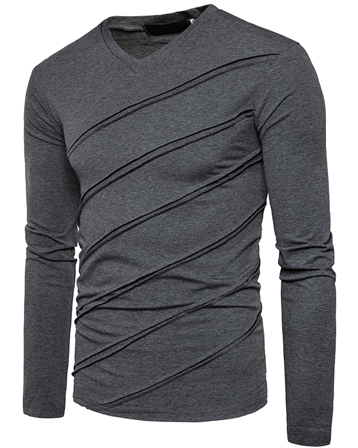 Men's Casual Long Sleeve Striped T-Shirt, Winter Fashion Cotton Solid V Neck Tee Dark Grey Small