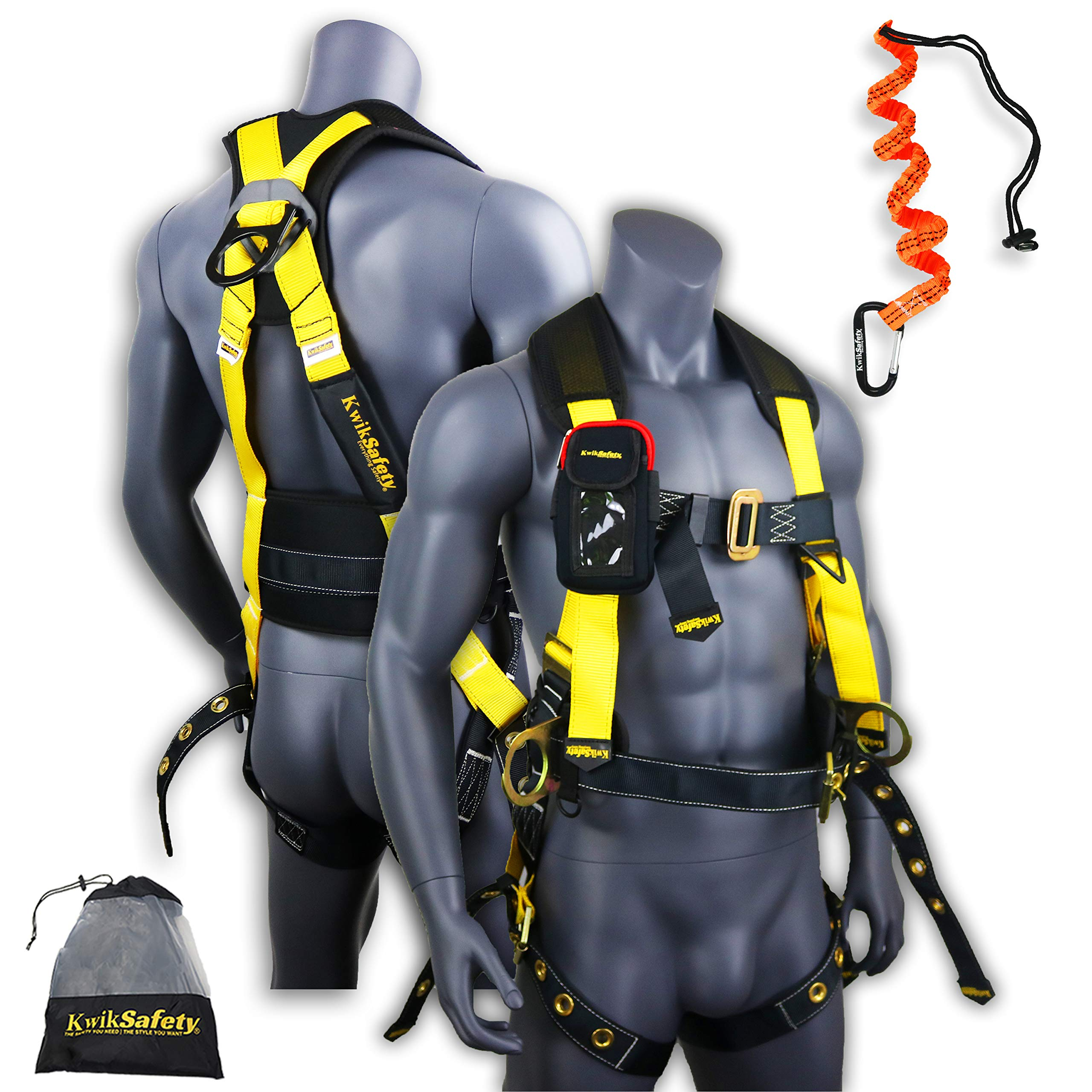 KwikSafety (Charlotte, NC) TYPHOON | ANSI Fall Protection Full Body Safety Harness | Personal Protective Equipment | Dorsal Ring Side D-Rings Grommet Leg Straps Tool Lanyard Bolt Pouch, Construction by KwikSafety (Image #1)