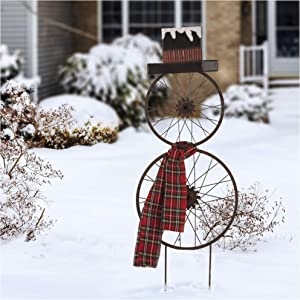 "Glizhome Metal Bike Wheel Snowman Yard Stake, with Plaid Scarf, Christmas Wall Décor 36"" H"