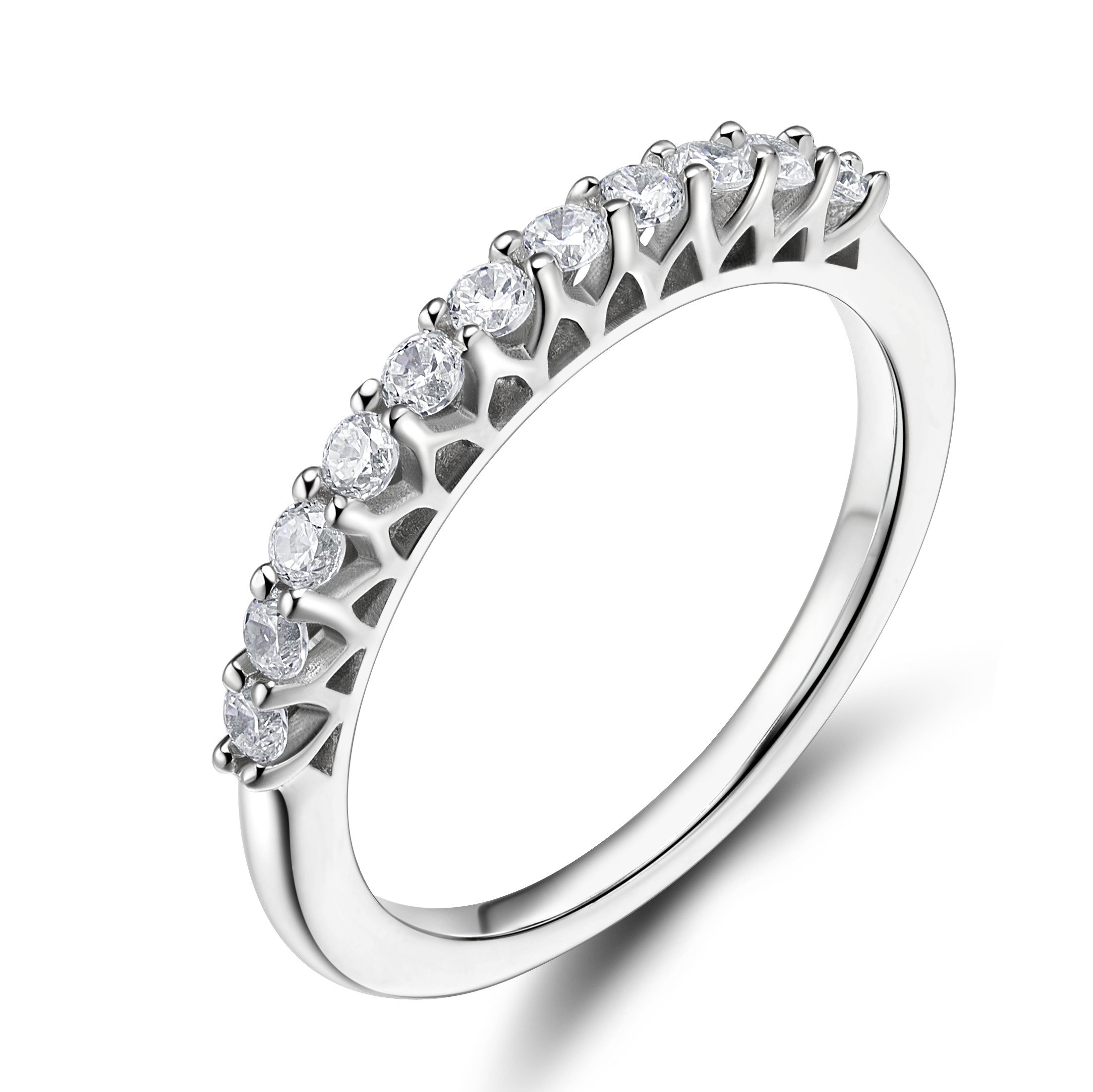 EAMTI 925 Sterling Silver Cubic Zirconia Half Eternity Ring Engagement Wedding Band (6)