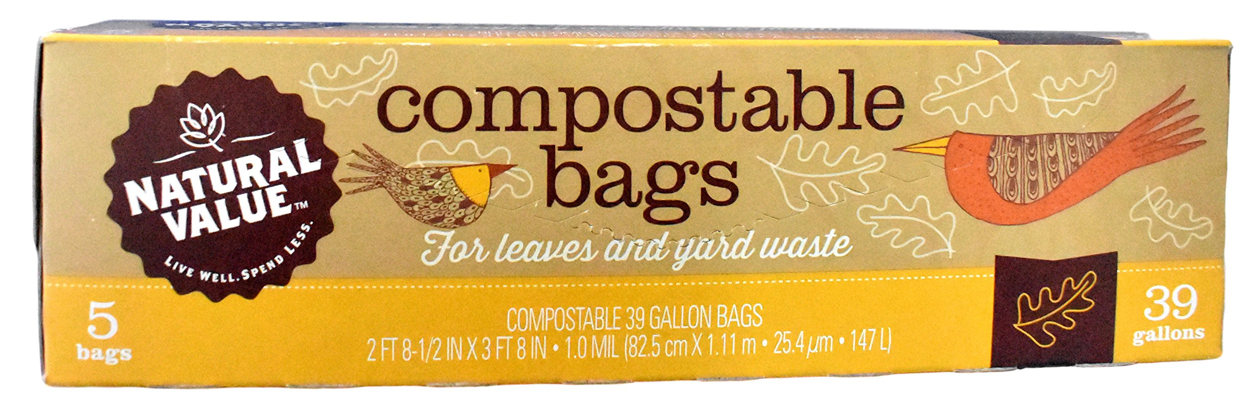 (Pack of 3) Natural Value - Compostable Yard Bags - 39 Gallon - 5 Bags