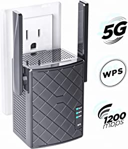 [2020 UPGRADED] WiFi Range Extender 1200 Mbps with WPS Internet Wireless Signal Booster - 2.4 & 5GHz Dual Band WiFi Extender with Ethernet Port - Wifi Repeater Alexa Compatible &all Smart Home Devices