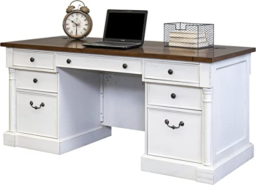 Martin Furniture Durham Double Pedestal Executive Desk, White