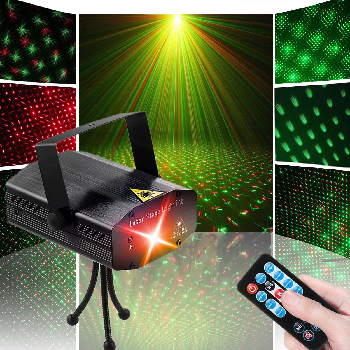 LED Disco DJ Party Laser Lights, Sibaok Mini Auto Flash 7 RG Color Stage Strobe Lights Sound Activated for Parties Room Show Birthday Party Wedding Dance Lighting with Remote Control, Black by Sibaok
