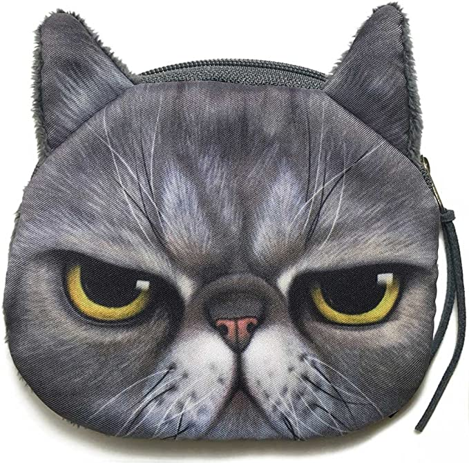 6-12 Zippered Lined Cat Coin Purse Tapestry Crochet