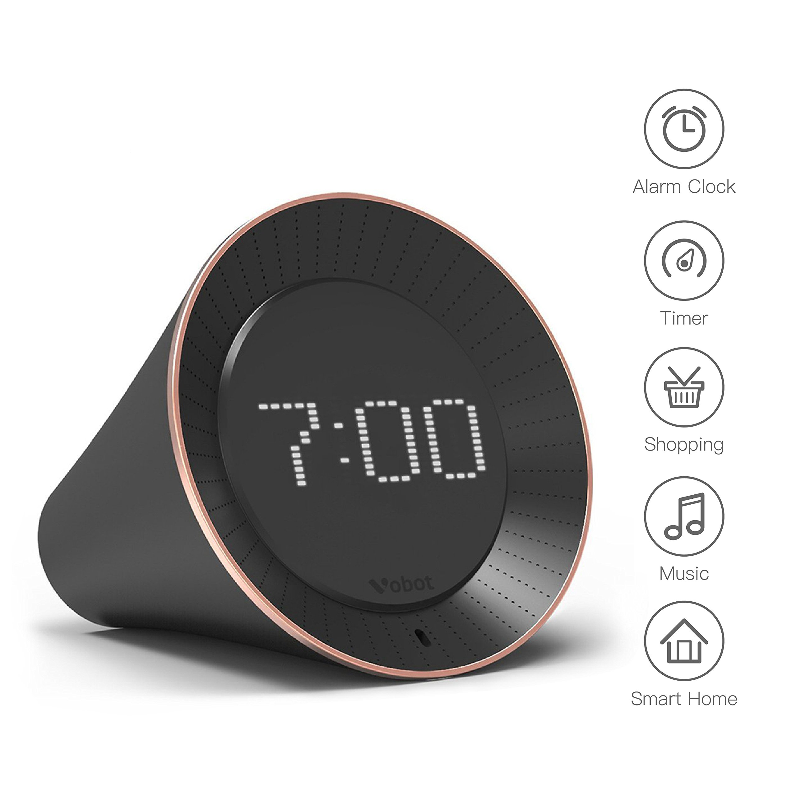 Vobot Smart Alarm Clock with Amazon Alexa[Touch-Initiate], 5W Speaker, LED Display, White Noise Machine, Timer/Date/Weather/Daily News/Radio/Music(Amazon Music, iHeartRadio, TuneIn etc) by VOBOT (Image #1)